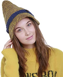AIEOE Womens Winter Pointy Top Beanie Hat Knit Wool Cap with Button Decoration