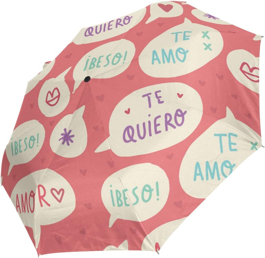 Mini Folding Umbrella Sweet Love Anti Pink Fees free Windproof Heart Word Max 58% OFF