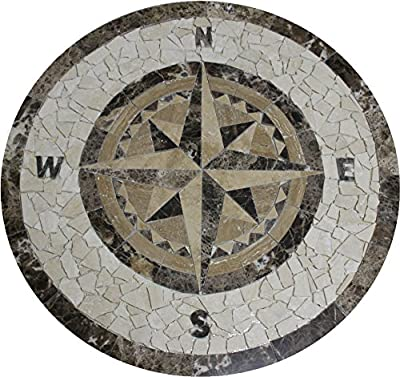 "Tile Floor Medallion Marble Mosaic Compass Star Design 28"""