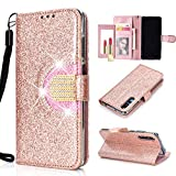 LA-Otter Glitzer Hülle Kompatibel für Apple iPhone 6S 6 Diamant Bling Leder Wallet Cover Tasche Brieftasche Handyhüllen mit Kartenfach Schutzhülle Flip Case - Roségold