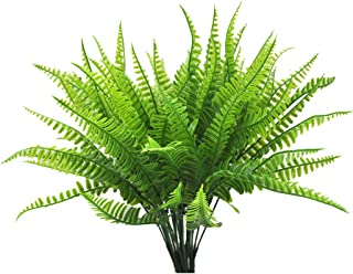 Lanldc Fake Faux Artificial Boston Fern Plants Greenery Bushes for Indoor Outside Home Garden Decor (Pack of 4)