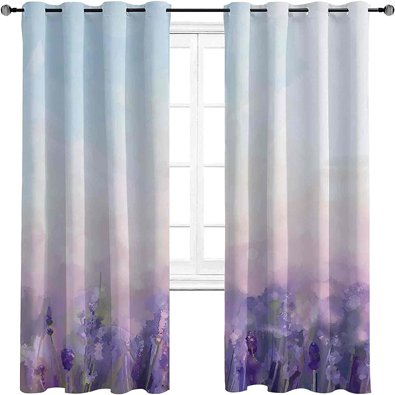 Lavender Regular store Mesa Mall Bedroom Blackout Curtains Oil Painting Flowers Style i