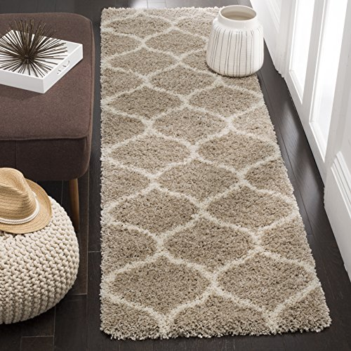 Safavieh Hudson Shag Collection SGH280S Moroccan Ogee 2-inch Thick Area Rug, 2′ x 3′, Beige/Ivory