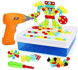 US Blue Robot Children Toys Electric Drill Nut Match The Van Tool Electric Drill-Puzzle Gift