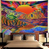 Dermijer Psychedelic Sun Tapestry Trippy Mountain Tapestry Hippe Sunrise Wave Wall Tapestry Colorful Nature Landscape Wall Hanging for Bedroom H51.2'X W59.1'