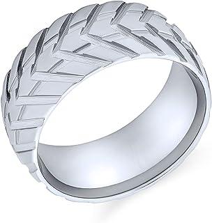 Bling Jewelry Anello per battistrada per Pneumatici Meccanico Uomo Meccanico per Uomo per Motociclisti Spazzolato Argento ...