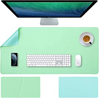 Mygreen Leather Desk Pad - (35.4 X 17 Inch) Desk Mat Accessories for Women Men Desk Protector Extended Mouse Pad for Office/Home Accessories Writing Pad for Top of Desks Light Blue/Green