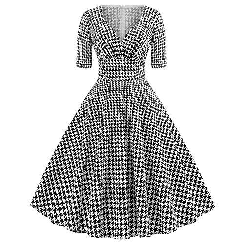 beautyjourney Vestido de cóctel Vintage de los años 50 para Mujer Vestido...