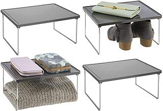 mDesign rangement pour vêtements (lot de 4) – étagère en métal et plastique pour plus d'espace rangement dans l'armoire – ...