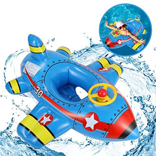 EPCHOO Schlauchboot Kinder, Baby Schwimmhilfen U-Boot, Aufblasbares Boot Kinderboot Schwimmring, Pool Cruiser mit Horn-Spielzeug-Lenkrad Blickfang (Flugzeug Blau)