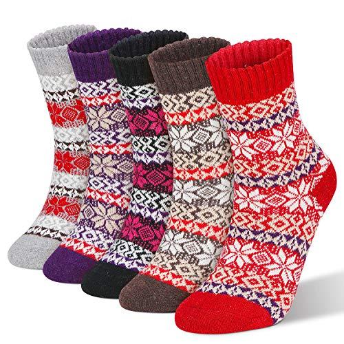 RenFox Calzini invernali da donna, calze di cotone da donna,calzini lavorati a maglia, motivo a fiocco di neve in stile retrò, calzini traspiranti, calzini casual, regali di Natale, regali di festa