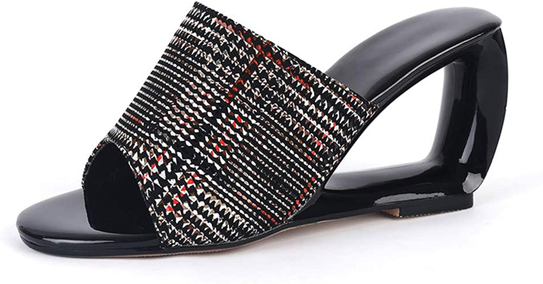 Eora-2sl Women Sandals peep Toe Slip on Summer shoes Unique high Heels shoes Party Prom shoes Female Black