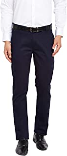 Hancock Navy Solid Slim Fit Cotton Stretch Midrise Trouser- 2120Navy
