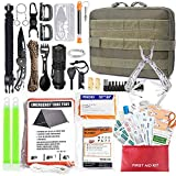 TOUROAM Emergency Survival First Aid Kit - 99PCS Outdoor Camping Hiking Gear Tool Bag, Gift for Father Men, Tactical Molle Admin Pouch, Military IFAK Bug Out Backpack Tent Shelter Fire Starter