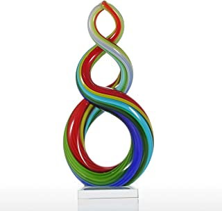 Tooarts Colorful Ribbon Art Glass Sculpture Centerpiece Party Home Decoration Gift Murano Style