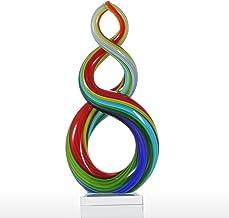 Romacci Escultura de vidro com fita colorida Decoração de casa Ornamento abstrato Decoração de artesanato