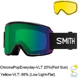 Smith Optics Adult Squad Snow Goggles Black Frame/ChromaPop Everyday Green Mirror/Yellow