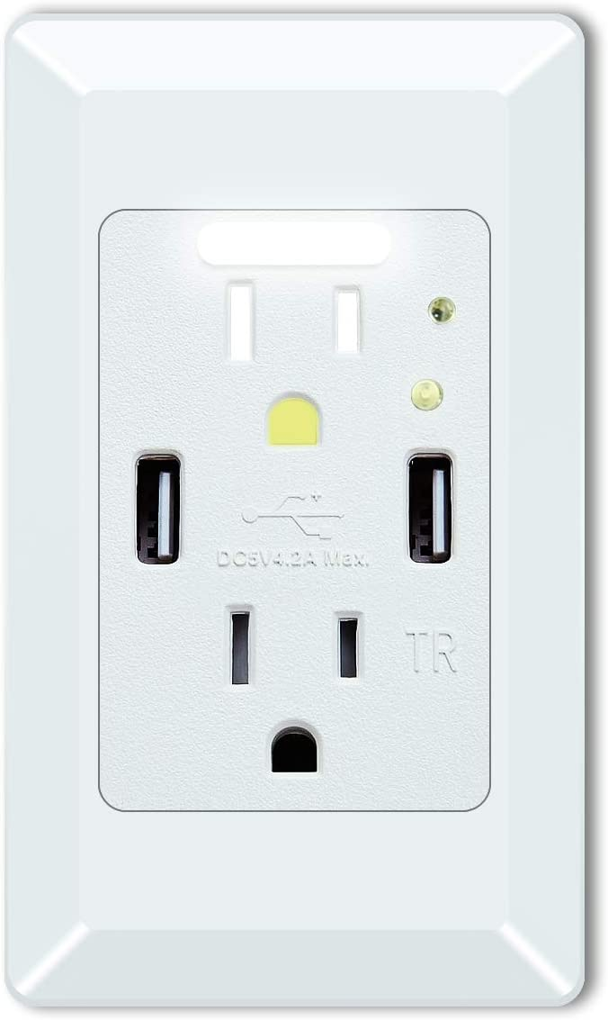 GREENCYCLE High Speed USB Charger Wall Outlet,15-Amp Duplex Receptacle,2 USB Charging Ports 4.2A and 2 Electrical AC Outlets, with Power-saving Auto Nightlight Sensor and Wall Plates (White, 1 Pack)