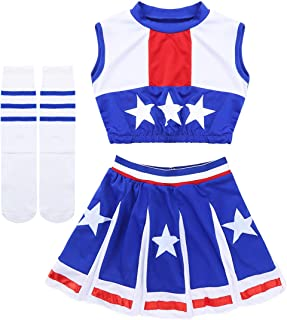 MSemis D/éguisement de Pom-Pom Girl Costume /écoliere Enfant Fille Justaucorps Danse Jazz Uniforme Cheerleaders Costume de Carnaval F/ête Performance 5-14 Ans