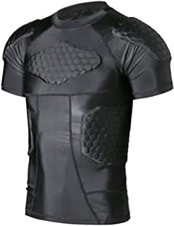 Body Safe Guard Padded Compression Shirt Sports Short Sleeve Protective T-Shirt Shoulder Rib Chest Back Protector Pads Support Shirt for Football Basketball Paintball Rugby Parkour Exercise …