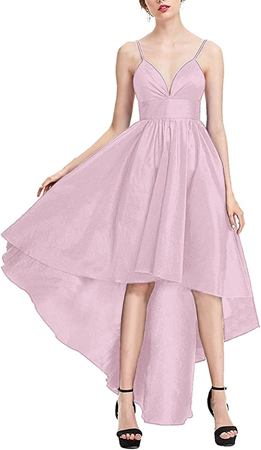 JINGDRESS Sexy V Neck Spaghetti Straps Satin Prom Gowns High Low Backless Cocktail