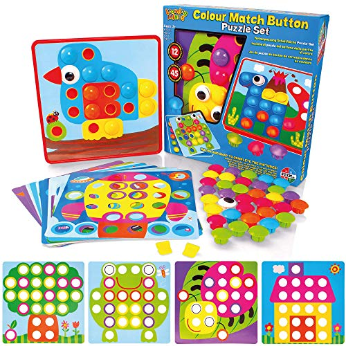 Learning Minds Colour Match Button Art Puzzle Set - Educational Mosaic...