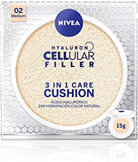 NIVEA Hyaluron Cellular Filler 3en1 Cushion Tono Medio (1 x 15 ml) cushion con pigmentos de color cuidado facial antieda...
