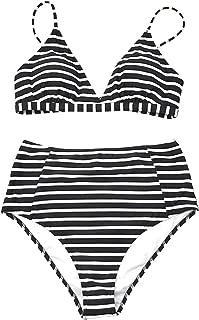 Women's Striped Love Story Back Hook Bikini