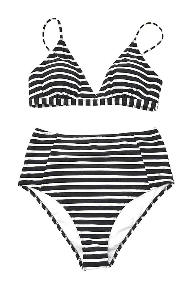 CUPSHE Women's Striped Love Story Back Hook Bikini