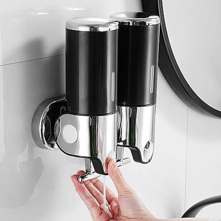 Hands DIY 500ML x 2 Distributeur de Savon Mural, Distributeur de Savon à Mains à Double Tête Distributeur Liquide Gel Douche Shampoo pour Cuisine Salle de Bains Hotel (Noir)