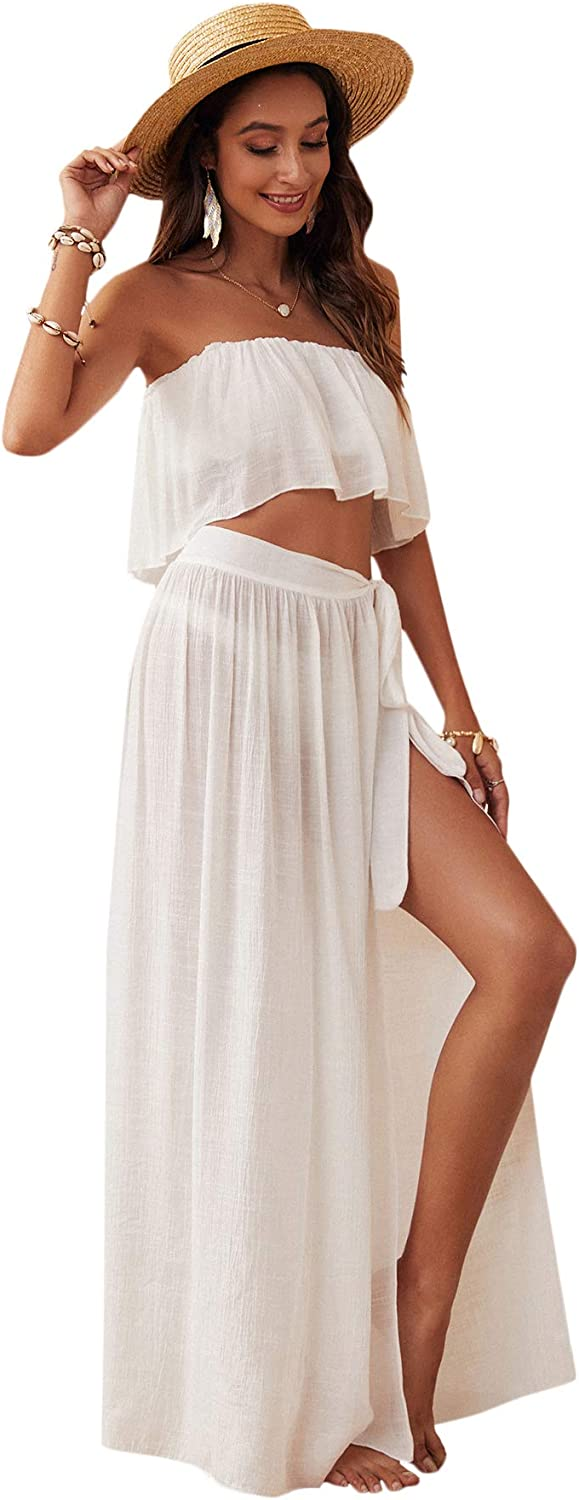 SOLY HUX Women's 2 Piece Bandeau Top and Tie Side Beach Cover Up Skirt Set Swimwear