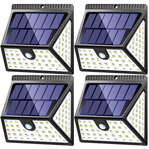 MITAOHOH Solar Lights Outdoor Motion Sensor 4 Pack, 1640 Lm with 270° Wide Lighting Angle, Waterproof Wireless Solar Powered Security Wall Light for Garage Walkway Step Stair Fence Deck