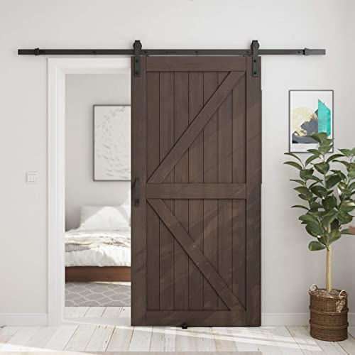 discount SMARTSTANDARD Brown 42in x 84in Sliding Barn Door with 7ft Barn Door popular Hardware Kit discount & Handle, Pre-Drilled Ready to Assemble, DIY Unfinished Solid Spruce Wood Panelled Slab, K-Frame online sale