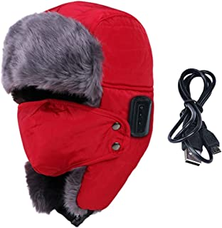 GLJJQMY Creative Cold Long Plush with Windshield Smart Bluetooth Cap Bluetooth Earphone (Color : RED)