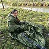 Balight sobre de Saco de Dormir de Emergencia Mantas de Emergencia Plegables Reutilizables ultraligeras Bolsas de Camping al Aire Libre portátiles térmicas con mosquetón Sacos de Dormir de Silbato