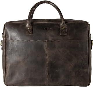HOLZRICHTER Berlin - Briefcase M Premium Aktentasche aus Leder - Handgefertigte Große Laptoptasche - Ledertasche für Herren und Damen - dunkel-braun