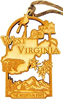 West Virginia Handmade Wooden Christmas Tree Decoration Mountain State Decor Gift Boxed
