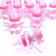 JZK 24 Rosa Botella Botellas Cajas Dulces Porta Dulces Confeti Regalo para Nacimiento Bautizo Bautismo cumpleaños Fiesta Bienvenida bebé Sagrada comunión bebé niña