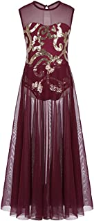 MSemis Kids Girls Sequins Ballet Tutu Dress Gymnastics Tank Top Leotard Lyrical Praise Latin Jazz Dancing Split Dress