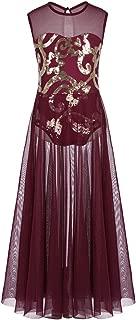 Little Big Girls Sequin Floral Tank Leotard Lyrical Spirit Praise Dance Costume Modern Contemporary Long Maxi Skirt
