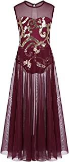 ranrann Kids Girls Floral Sequins Spirit Praise Lyrical Dance Costume Tank Leotard Maxi Skirt
