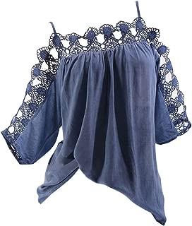 Women Fashion Summer Casual Elegant Spaghetti Strap Off Cold Shoulder T Shirt Lace Crochet Blouse Top