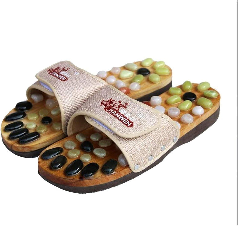 Shower Slippers, Natural Cobblestone Massage Slippers, Foot Massager   Arthritis   High Heels   Arch Pain   Men and Women (color   White Beige, Size   41EU)