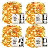 WSgift 4 Pack 33Ft 100 Warm White Led Fairy Lights Battery Operated with Remote Control Timer Waterproof Silver Copper Wire Twinkle Lights for Bedroom Indoor Outdoor Wedding Dorm Christmas Decorations