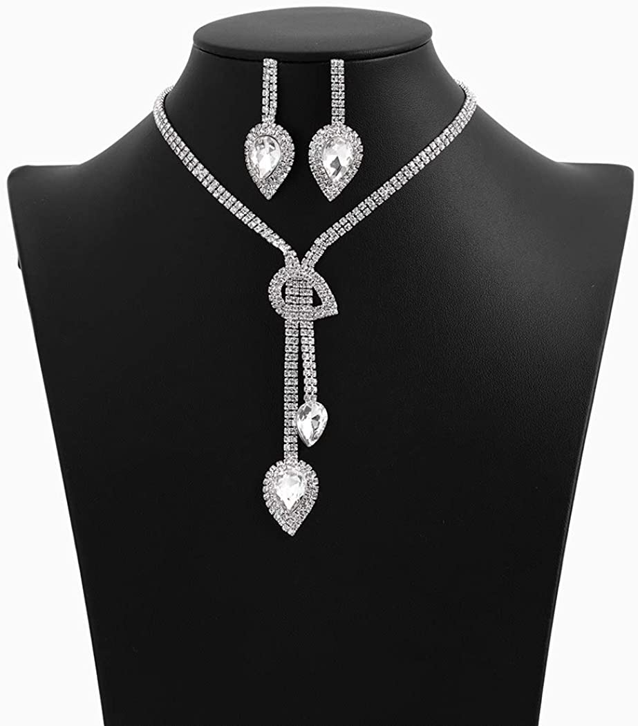 Campsis Rhinestone Teardrop Necklace Wedding Bridal Tassel CrystaL Statement Necklaces Earring Jewelry Set for Women and Girls