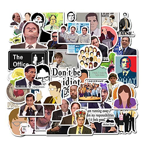 The Office Sticker Pack of 50 Stickers-Funny Quote Waterproof Vinyl Stickers for Laptop Hydro Flasks Water Bottles Phone Notebook Computers Guitar Bike Helmet Car-Interesting Gift (The Office-B)