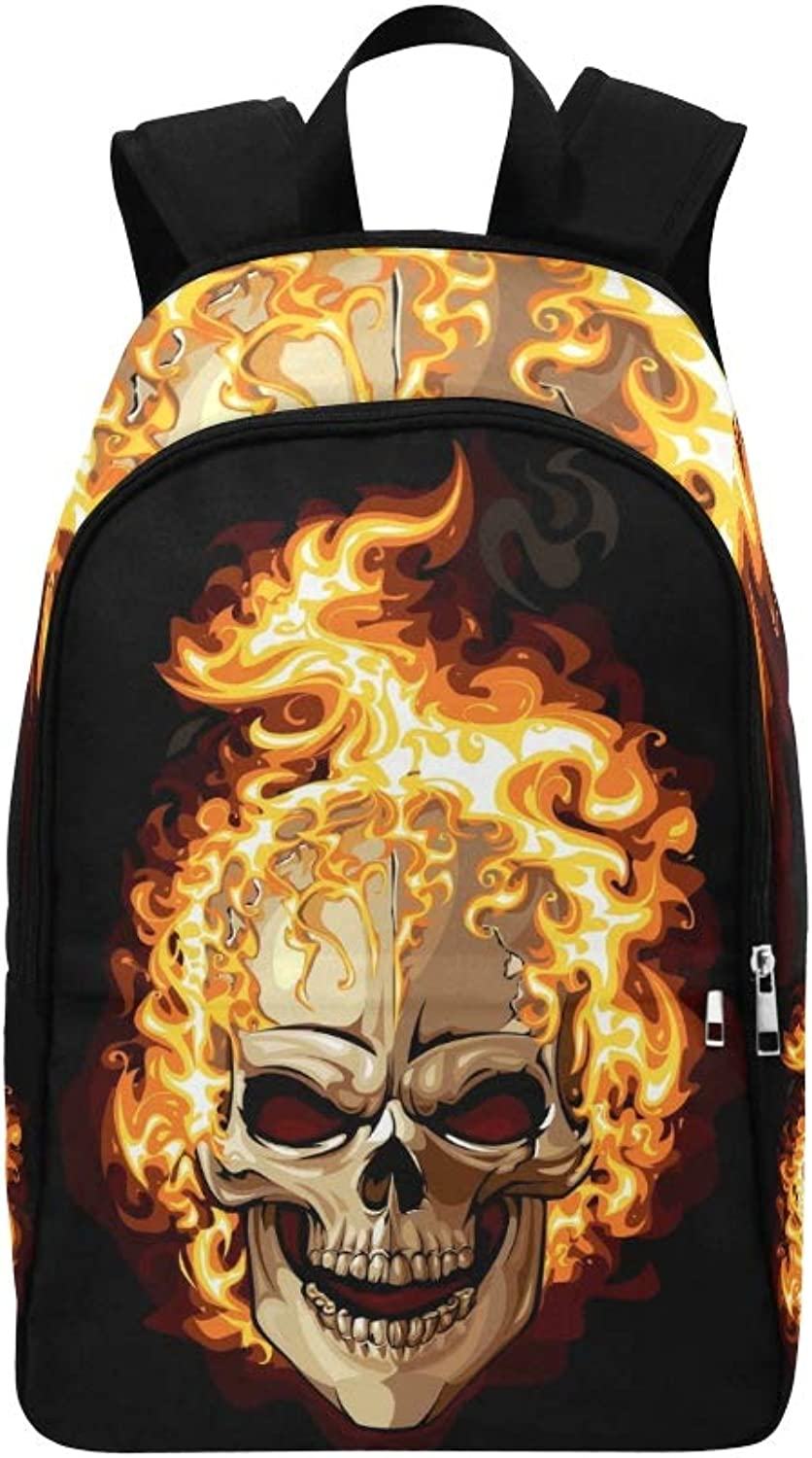 Burning Skull On Black Tattoo Casual Daypack Travel Bag College School Backpack for Mens and Women
