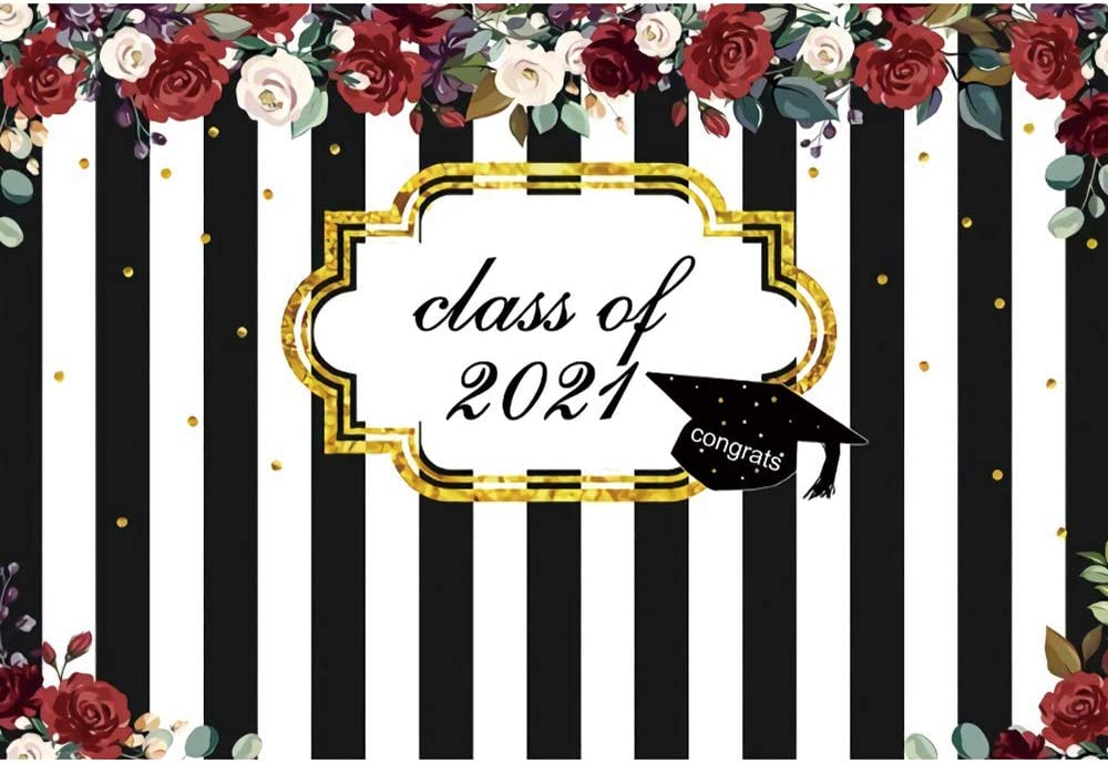 DORCEV 12x10ftClass of 2021 Graduation Black White Backdrop trend rank Mail order and