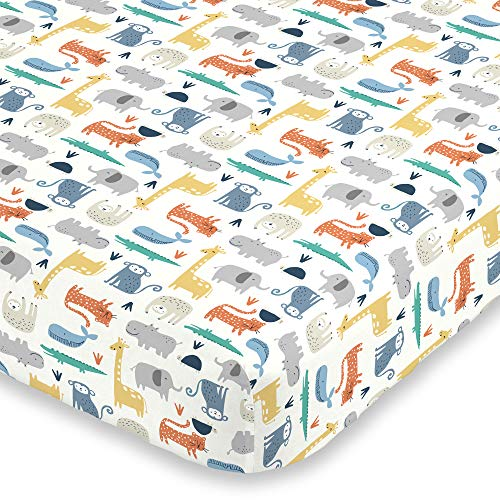 Carter's Colorful Modern Safari Animals Super Soft Fitted Crib Sheet, Orange, Green, Blue, Grey (6717003P)