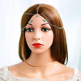 Evazen Boho Head Chain Silver Headpieces Blue Bead Hair Accessories Diny Fashion head chain for Women and Girls